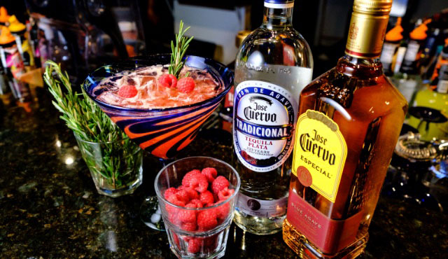 Fuego margarita bar's rosemary raspberry margarita is amazing