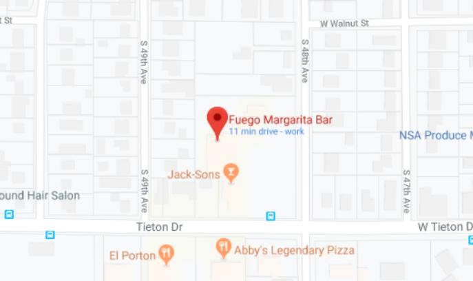 Image of Google Maps location for Fuego Margarita Bar
